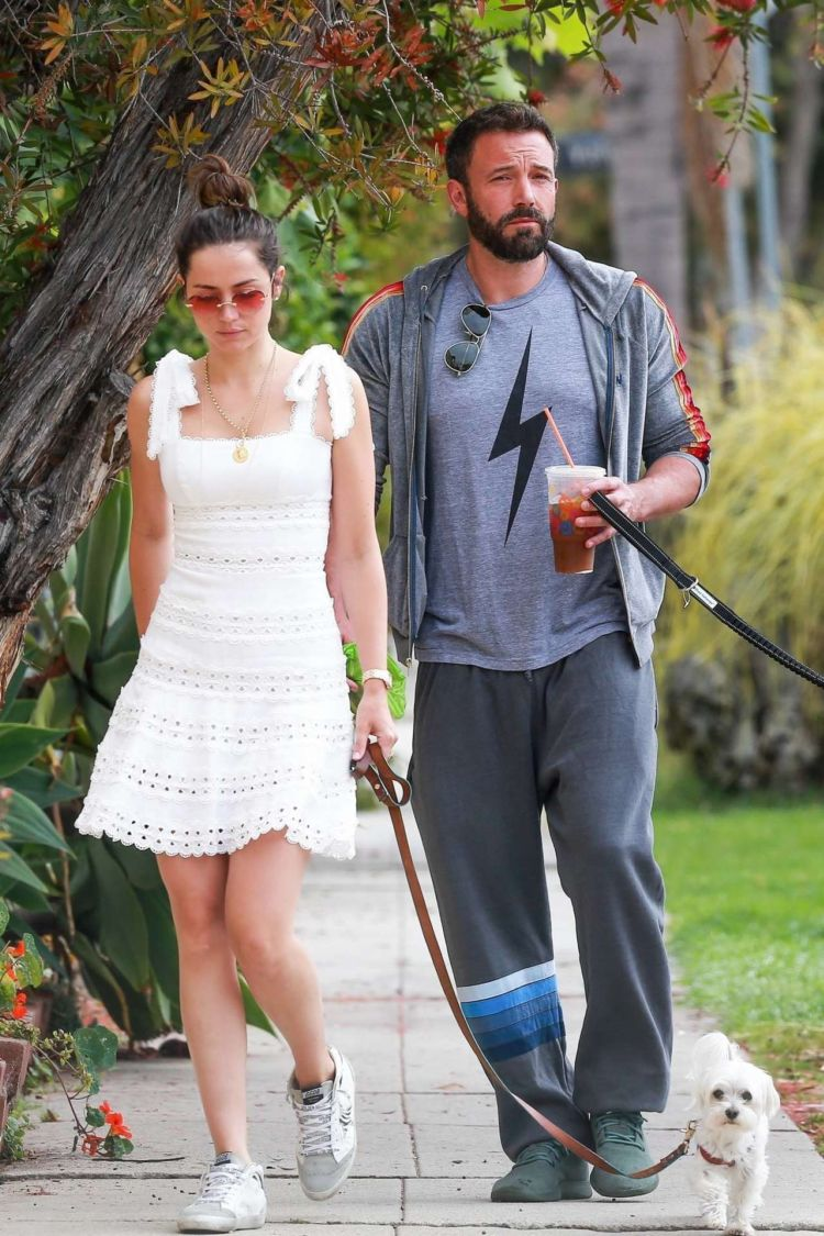 Ana De Armas Out For A Morning Walk In A White Dress