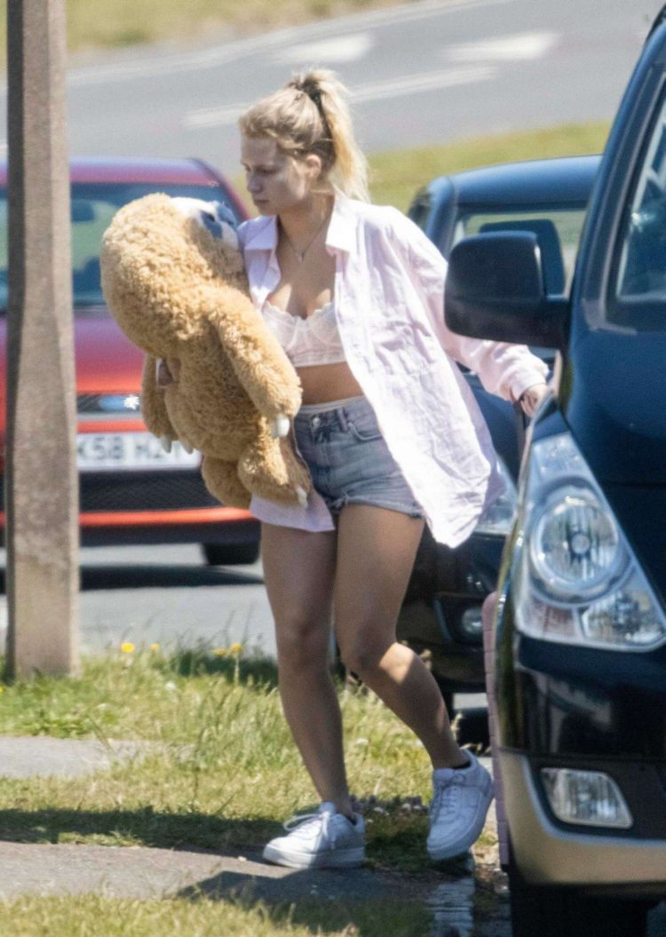 Lottie Moss Candids In A White Shirt And Blue Shorts Out In Sussex