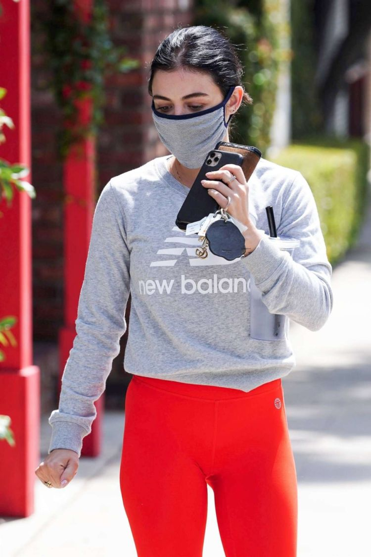 Lucy Hale Candids In Red Leggings Out In Studio City