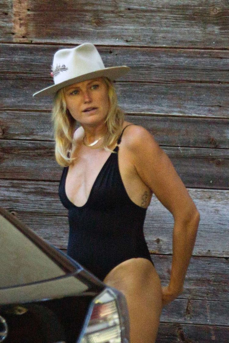 Malin Akerman Candids In Black Swimwear Outside Her Home In Los Angeles
