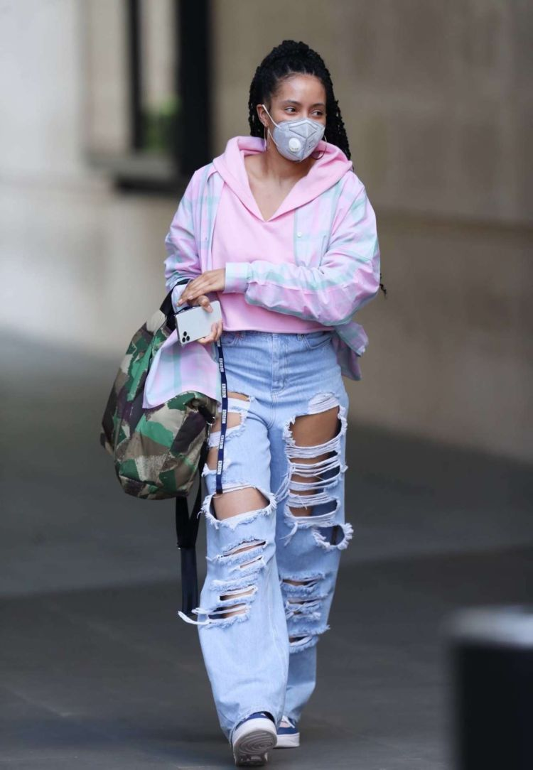 Yasmin Evans Candids In Torn Denim Jeans Leaving BBC House In London
